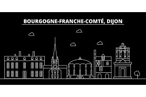 Dijon silhouette skyline. France - Dijon vector city, french linear architecture, buildings. Dijon travel illustration, outline landmarks. France flat icon, french line banner