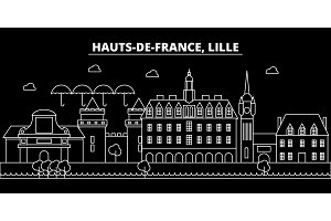 Lille silhouette skyline. France - Lille vector city, french linear architecture, buildings. Lille travel illustration, outline landmarks. France flat icon, french line banner