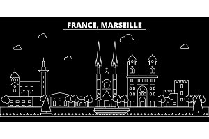 Marseille silhouette skyline. France - Marseille vector city, french linear architecture, buildings. Marseille travel illustration, outline landmarks. France flat icon, french line banner