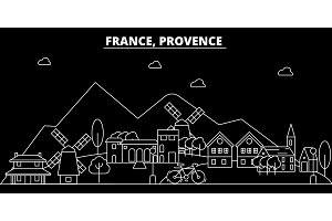 Provence silhouette skyline. France - Provence vector city, french linear architecture, buildings. Provence travel illustration, outline landmarks. France flat icon, french line banner