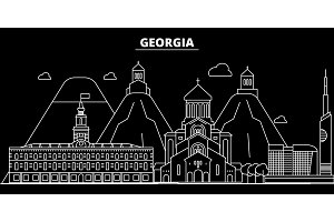 Georgia silhouette skyline. Georgia vector city, georgian linear architecture, buildingtravel illustration, outline landmarkflat icon, georgian line banner