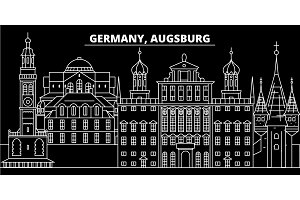 Augsburg silhouette skyline. Germany - Augsburg vector city, german linear architecture, buildings. Augsburg travel illustration, outline landmarks. Germany flat icon, german line banner