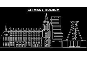 Bochum silhouette skyline. Germany - Bochum vector city, german linear architecture, buildings. Bochum travel illustration, outline landmarks. Germany flat icon, german line banner