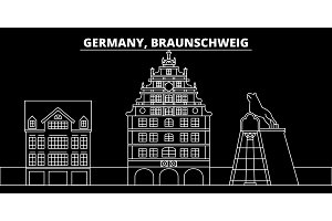 Braunschweig silhouette skyline. Germany - Braunschweig vector city, german linear architecture, buildings. Braunschweig travel illustration, outline landmarks. Germany flat icon, german line banner