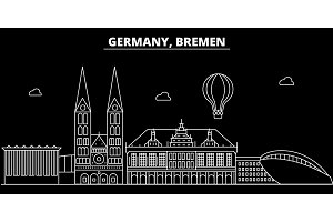 Bremen silhouette skyline. Germany - Bremen vector city, german linear architecture, buildings. Bremen travel illustration, outline landmarks. Germany flat icon, german line banner