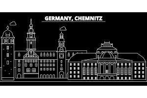 Chemnitz silhouette skyline. Germany - Chemnitz vector city, german linear architecture, buildings. Chemnitz travel illustration, outline landmarks. Germany flat icon, german line banner