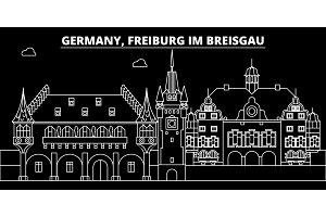 Freiburg im Breisgau silhouette skyline. Germany - Freiburg im Breisgau vector city, german linear architecture, buildingtravel illustration, outline landmarks. Germany icon, german line banner