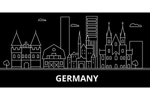 Germany silhouette skyline. Germany vector city, german linear architecture, buildingtravel illustration, outline landmarkflat icon, german line banner
