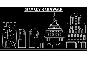 Greifswald silhouette skyline. Germany - Greifswald vector city, german linear architecture, buildings. Greifswald travel illustration, outline landmarks. Germany flat icon, german line banner