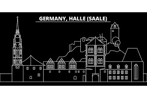 Halle Saale silhouette skyline. Germany - Halle Saale vector city, german linear architecture, buildingtravel illustration, outline landmarks. Germany flat icon, german line banner