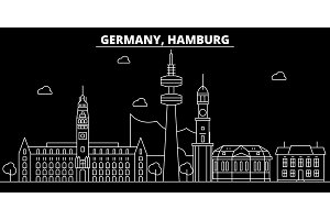 Hamburg silhouette skyline. Germany - Hamburg vector city, german linear architecture, buildings. Hamburg travel illustration, outline landmarks. Germany flat icon, german line banner