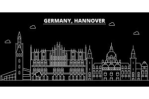 Hanover silhouette skyline. Germany - Hanover vector city, german linear architecture, buildings. Hanover travel illustration, outline landmarks. Germany flat icon, german line banner