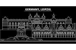 Leipzig silhouette skyline. Germany - Leipzig vector city, german linear architecture, buildings. Leipzig travel illustration, outline landmarks. Germany flat icon, german line banner