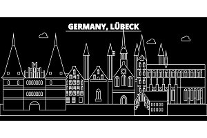 Lubeck silhouette skyline. Germany - Lubeck vector city, german linear architecture, buildings. Lubeck line travel illustration, landmarks. Germany flat icon, german outline design banner