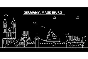 Magdeburg silhouette skyline. Germany - Magdeburg vector city, german linear architecture, buildings. Magdeburg travel illustration, outline landmarks. Germany flat icon, german line banner