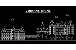 Mainz silhouette skyline. Germany - Mainz vector city, german linear architecture, buildings. Mainz travel illustration, outline landmarks. Germany flat icon, german line banner
