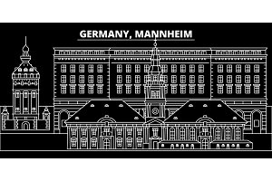Mannheim silhouette skyline. Germany - Mannheim vector city, german linear architecture, buildings. Mannheim travel illustration, outline landmarks. Germany flat icon, german line banner