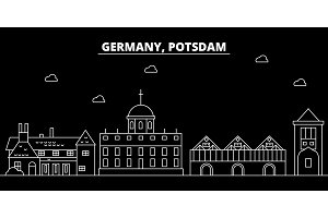 Potsdam silhouette skyline. Germany - Potsdam vector city, german linear architecture, buildings. Potsdam line travel illustration, landmarks. Germany flat icon, german outline design banner