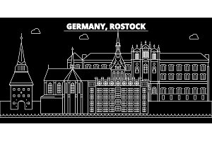 Rostock silhouette skyline. Germany - Rostock vector city, german linear architecture, buildings. Rostock travel illustration, outline landmarks. Germany flat icon, german line banner
