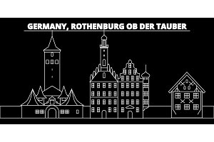 Rothenburg ob der Tauber silhouette skyline. Germany - Rothenburg ob der Tauber vector city, german linear architecture, travel illustration, outline landmarks. Germany flat icon, german line banner
