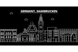 Saarbrucken silhouette skyline. Germany - Saarbrucken vector city, german linear architecture. Saarbrucken line travel illustration, landmarks. Germany flat icon, german outline design banner