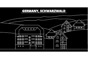 Schwarzwald silhouette skyline. Germany - Schwarzwald vector city, german linear architecture, buildings. Schwarzwald travel illustration, outline landmarks. Germany flat icon, german line banner