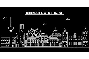 Stuttgart silhouette skyline. Germany - Stuttgart vector city, german linear architecture, buildings. Stuttgart travel illustration, outline landmarks. Germany flat icon, german line banner