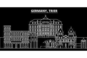 Trier silhouette skyline. Germany - Trier vector city, german linear architecture, buildings. Trier travel illustration, outline landmarks. Germany flat icon, german line banner