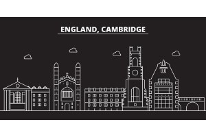 Cambridge silhouette skyline. Great Britain - Cambridge vector city, british linear architecture. Cambridge travel illustration, outline landmarks. Great Britain flat icon, british line banner
