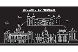 Edinburgh silhouette skyline. Great Britain - Edinburgh vector city, british linear architecture. Edinburgh travel illustration, outline landmarks. Great Britain flat icon, british line banner