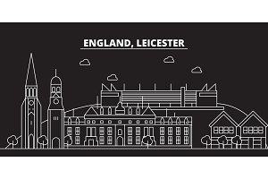Leicester silhouette skyline. Great Britain - Leicester vector city, british linear architecture. Leicester travel illustration, outline landmarks. Great Britain flat icon, british line banner