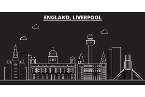 Liverpool silhouette skyline. Great Britain - Liverpool vector city, british linear architecture. Liverpool line travel illustration, landmarks. Great Britain flat icon, british outline design banner
