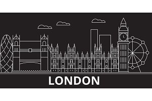 London silhouette skyline. Great Britain - London vector city, british linear architecture, buildings. London travel illustration, outline landmarks. Great Britain flat icon, british line banner