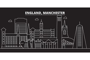 Manchester silhouette skyline. Great Britain - Manchester vector city, british linear architecture. Manchester travel illustration, outline landmarks. Great Britain flat icon, british line banner