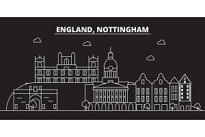 Nottingham silhouette skyline. Great Britain - Nottingham vector city, british linear architecture. Nottingham travel illustration, outline landmarks. Great Britain flat icon, british line banner