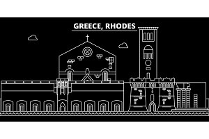 Rhodes silhouette skyline. Greece - Rhodes vector city, greek linear architecture, buildings. Rhodes travel illustration, outline landmarks. Greece flat icon, greek line banner