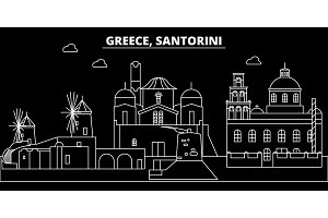 Santorini silhouette skyline. Greece - Santorini vector city, greek linear architecture, buildings. Santorini travel illustration, outline landmarks. Greece flat icon, greek line banner