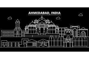 Ahmedabad silhouette skyline. India - Ahmedabad vector city, indian linear architecture, buildings. Ahmedabad travel illustration, outline landmarks. India flat icon, indian line banner