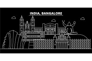 Bangalore silhouette skyline. India - Bangalore vector city, indian linear architecture, buildings. Bangalore travel illustration, outline landmarks. India flat icon, indian line banner