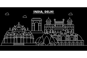 Delhi silhouette skyline. India - Delhi vector city, indian linear architecture, buildings. Delhi travel illustration, outline landmarks. India flat icon, indian line banner