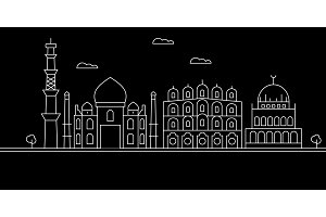 Delhi city silhouette skyline. India - Delhi city vector city, indian linear architecture, buildings. Delhi city travel illustration, outline landmarks. India flat icon, indian line banner