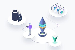 Blockchain Platform Isometric