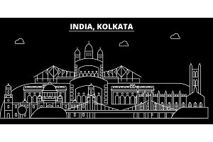 Kolkata silhouette skyline. India - Kolkata vector city, indian linear architecture, buildings. Kolkata travel illustration, outline landmarks. India flat icon, indian line banner