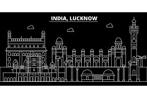 Lucknow silhouette skyline. India - Lucknow vector city, indian linear architecture, buildings. Lucknow travel illustration, outline landmarks. India flat icon, indian line banner