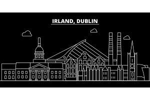 Dublin silhouette skyline. Ireland - Dublin vector city, irish linear architecture, buildings. Dublin travel illustration, outline landmarks. Ireland flat icon, irish line banner