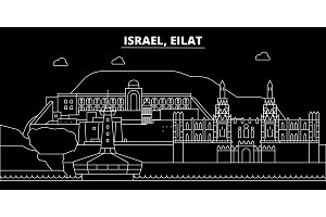 Eilat silhouette skyline. Israel - Eilat vector city, israeli linear architecture, buildings. Eilat travel illustration, outline landmarks. Israel flat icon, israeli line banner