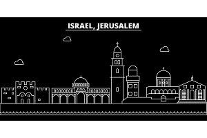 Jerusalim silhouette skyline. Israel - Jerusalim vector city, israeli linear architecture, buildings. Jerusalim travel illustration, outline landmarks. Israel flat icon, israeli line banner