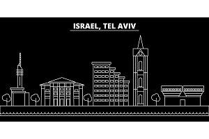 Tel aviv silhouette skyline. Israel - Tel aviv vector city, israeli linear architecture, buildings. Tel aviv travel illustration, outline landmarks. Israel flat icon, israeli line banner