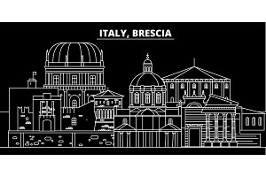 Brescia silhouette skyline. Italy - Brescia vector city, italian linear architecture, buildings. Brescia travel illustration, outline landmarks. Italy flat icon, italian line banner