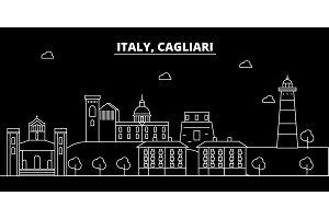 Cagliari silhouette skyline. Italy - Cagliari vector city, italian linear architecture, buildings. Cagliari travel illustration, outline landmarks. Italy flat icon, italian line banner